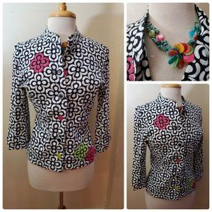 A La Carte Floral Button Up Jacket Top